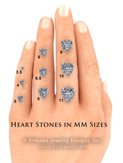 Hand with Heart Cut Diamonds