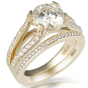 Double Pave Cathedral Bridal Set in Yellow Gold and White Diamonds