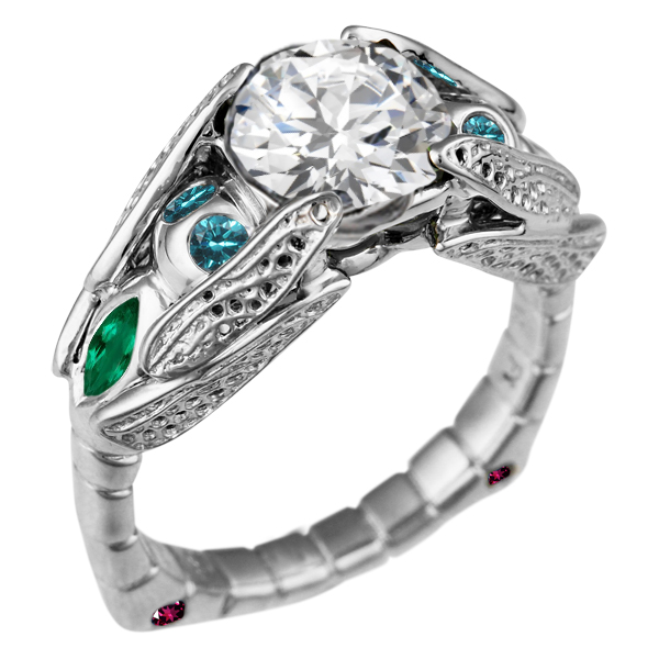 Dragonfly Engagement Ring with Round White Diamond, blue diamond, emerald and garnet accents