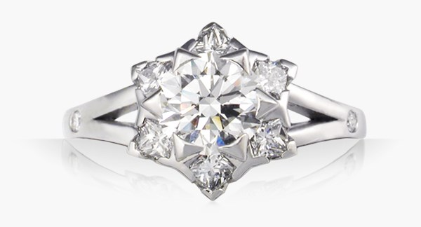 Artistic Snowflake Engagement Ring