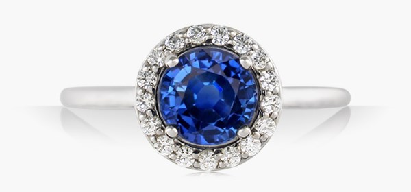 Classic Round Halo Cathedral Engagement Ring with Sapphire