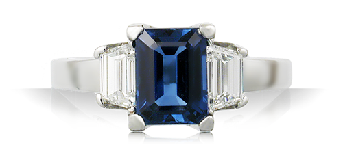 blue sapphire emerald cut engagement ring