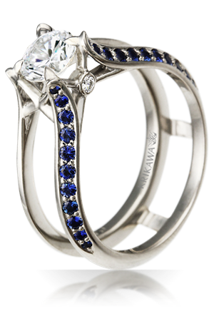 Juicy Scaffold Engagement Ring with Sapphires