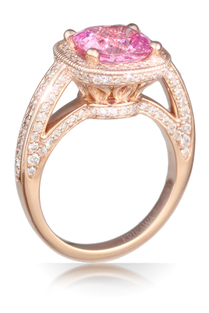 Luxury Elizabethan Pave Engagement Ring in Rose Gold