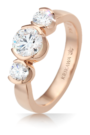 Modern Three Stone Engagement Ring in Rose Gold