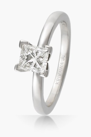 Classic Simple Square Prong Solitaire Engagement Ring