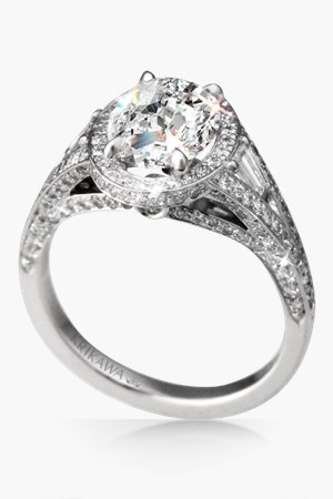 Unique Regal Split Halo Engagement Ring with Oval Diamond