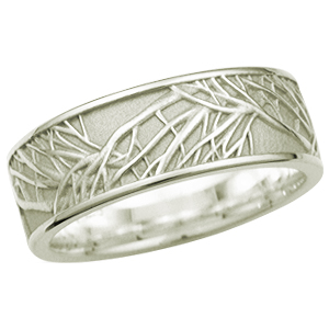 Tree of Life Eternity Wedding Band in 10k Green Gold