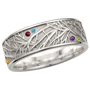 Tree of Life Eternity Wedding Band with Scattered Stones