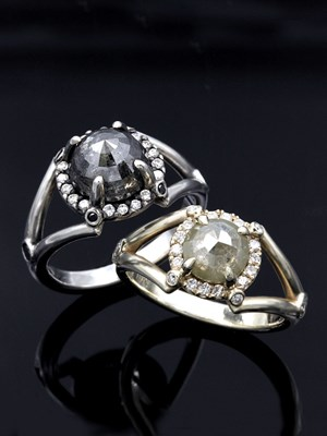 Raw Claw Engagement Ring Set