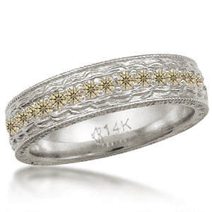 Hand Engraved Wedding Band with Champagne Diamonds in 14k White Gold