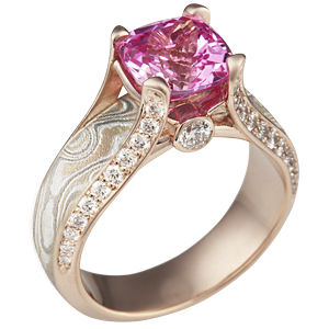 Juicy Light Engagement Ring with Champagne Mokume and a Pink Sapphire