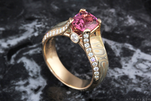 Juicy Light Engagement Ring with Spinel Cushion