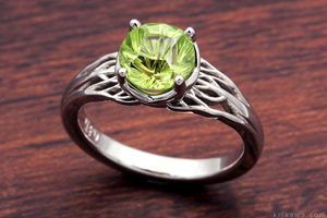 Tree of Life Engagement Ring with Larry Woods Medicine Wheel Cut Peridot
