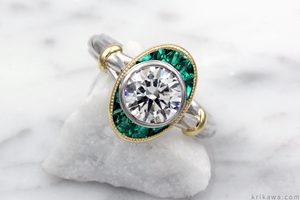 Custom Art Deco Engagement Ring with Emerald Accents
