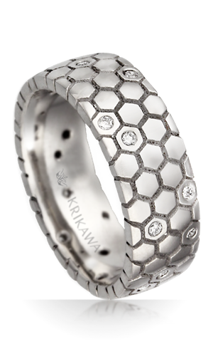 Honeycomb wedding band with diamonds