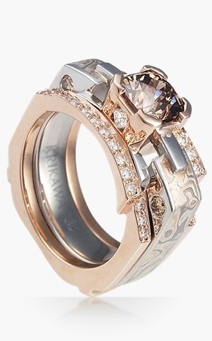 Mokume Falling Water Bridal Set