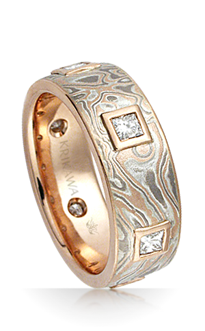 Mokume Kings Crown Wedding Band
