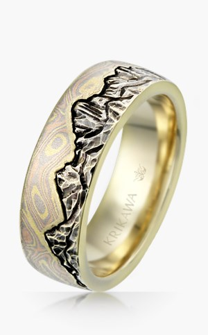 Mokume Mountain Wedding Band