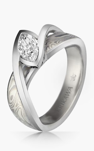 Mokume River Twist Engagement Ring
