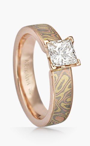 Mokume Solitaire Prong Set Engagement Ring