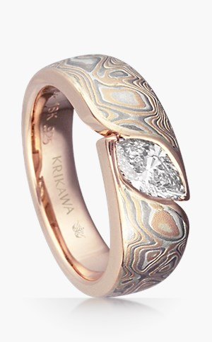 Mokume Wave Marquise Engagement Ring