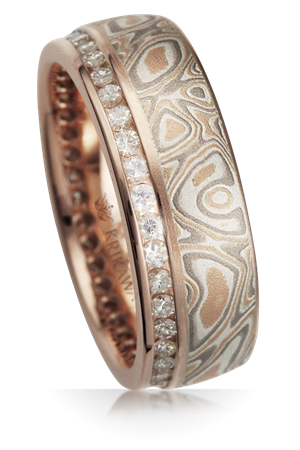 Mokume Gane Rings Alternative Luxury Wood Grain Wedding Bands