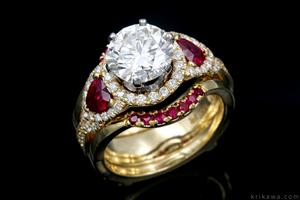 Old World Vintage Engagement Ring with Ruby Enhancer