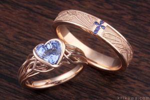 Tree of Life Wedding Set with Natural Blue Sapphires