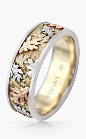 Tri-color Leaf Wedding Band
