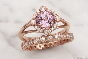 Vintage Scalloped Halo Engagement Ring with Chatham Pink Sapphire