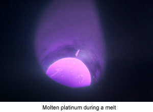 Molten Platinum during Melting