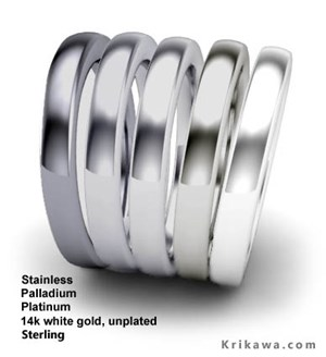 White metal colors compared: Stainless steel, platinum, palladium, white gold and sterling