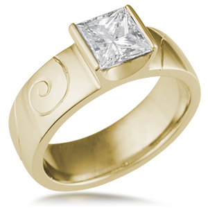 Modern Hand Engraved Engagement Ring in 18k Yellow Gold
