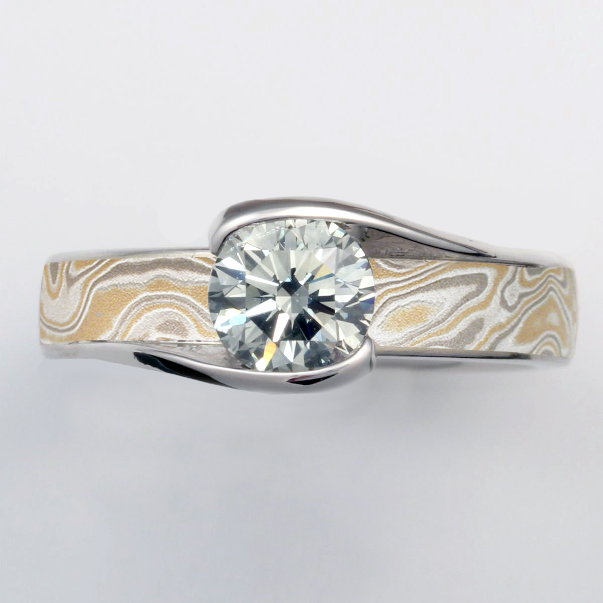 Summer Mokume Carved Wave Engagement Ring without channel