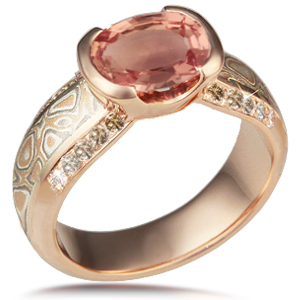 Mokume Diamonds Silhouette Engagement Ring with Champagne Diamonds and Rose Gold Band