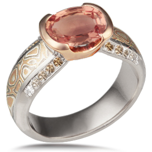 Mokume Diamond Silhouette Engagement Ring with Champagne Diamonds, White Gold Band and Rose Gold Head