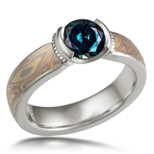 Mokume Millgrained Solitaire Engagement Ring with Color Changing Alexandrite (color 1)