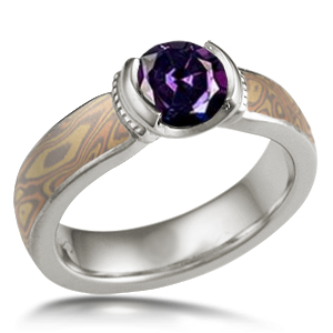 Mokume Millgrained Solitaire Engagement Ring with Color Changing Alexandrite (color 2)