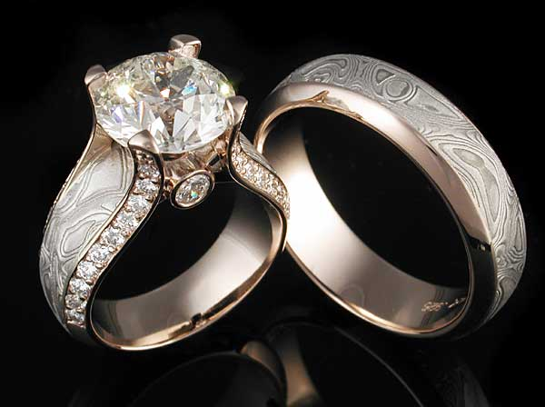 Mokume Wedding and Engagement Ring with Diamonds