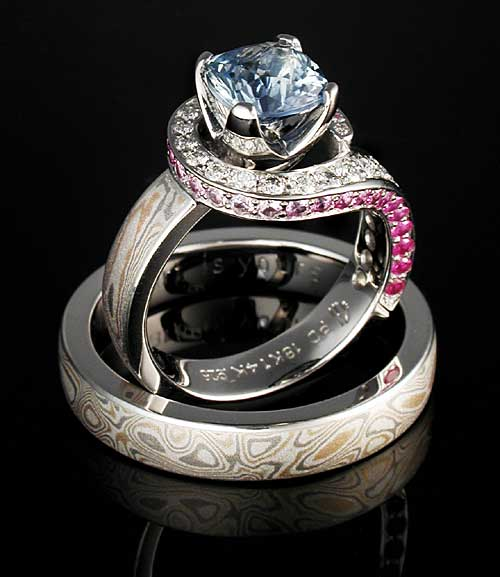Unique Sapphire Engagement Ring Set with Blue and Pink Sapphires