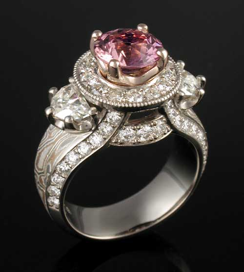 Unique Mokume Engagement Ring with Pink Sapphire