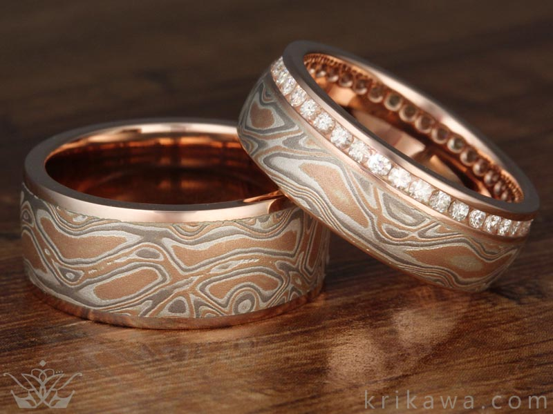 Champagne Mokume Wedding Band Matched Set