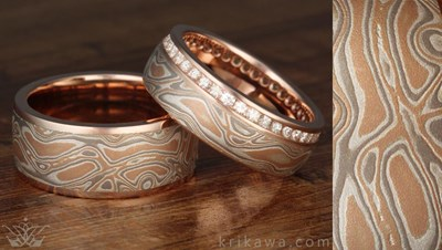 yellow pebble ring white mokume rose art products and gold rings zest silver jewelry gane