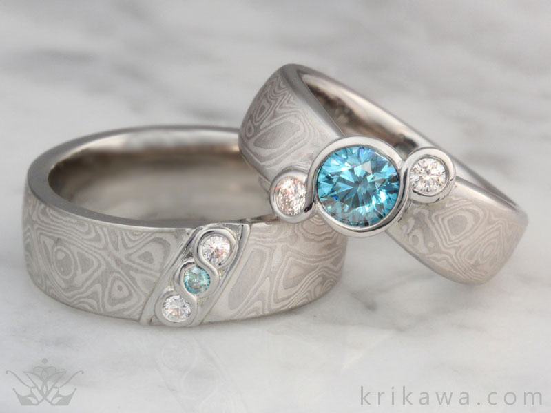 mokume gane wedding set