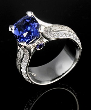 Luxury Blue Sapphire Engagement Ring