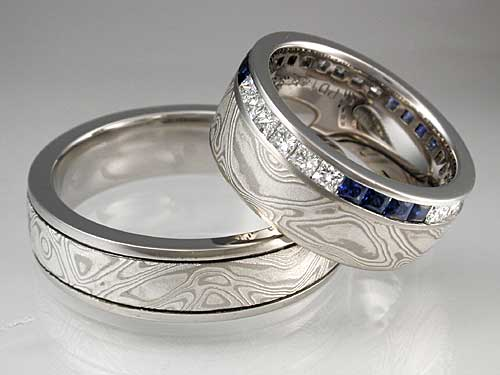 mokume band set with diamonds and sapphires