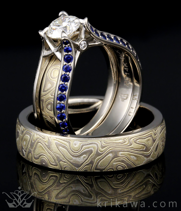 blue band meteorite titanium jewelry with gane by johan rings mokume ring collections wedding