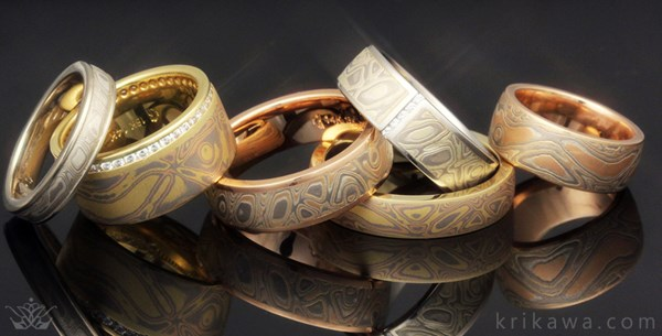 mokume gane wedding bands