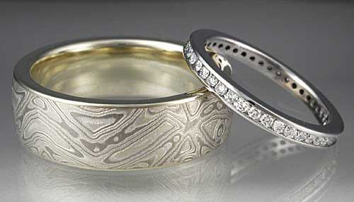 Mokume Wedding Band with Diamond Band